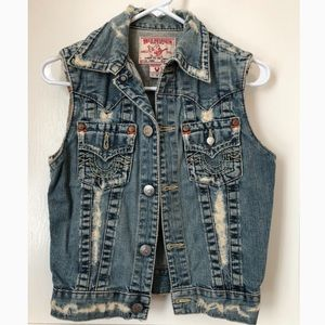 TRUE RELIGION Denim Jean Vest, Medium